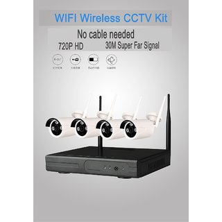 Wireless NVR WiFi IP CAMERA CCTV DVR KIT 4CH 720P HD P2P Home Security System WITH HDD