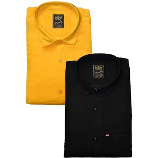 Freaky Mens Plain Yellow Black Casual Slimfit linen Shirts