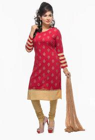 Navrachna festive red cotton kurti set with churidar and dupatta
