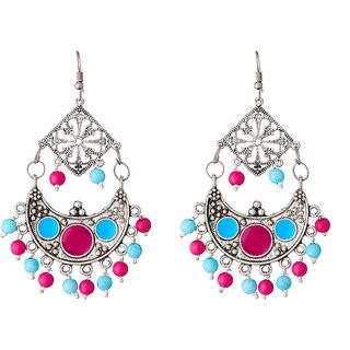 JewelMaze Blue Beads Rhodium Plated Meenakari Afghani Earrings