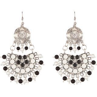 JewelMaze Rhodium Plated Beads Afghani Earrings