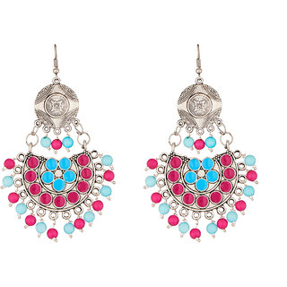 JewelMaze Beads Rhodium Plated Meenakari Afghani Earrings