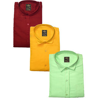 Freaky Pack Of 3 Plain Casual Slimfit Poly-Cotton ShirtsMehroonYellowLightgreen