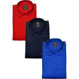 Freaky Pack Of 3 Plain Casual Slim fit Shirts(Red Navy Blue)