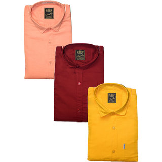 Freaky Pack Of 3 Plain Casual Slimfit Poly-Cotton ShirtsPeachMehroonYellow