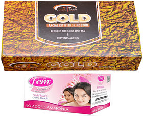 Fem Saffron Bleach and Pink Root Gold Facial Kit gm Pack of 2