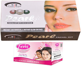 Fem Saffron Bleach and Pink Root Pearl Facial Kit 83g Pack of 2