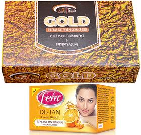Fem De-Tan Bleach and Pink Root Gold Facial Kit gm Pack of 2