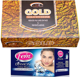 Fem Diamond Bleach and Pink Root Gold Facial Kit gm Pack of 2