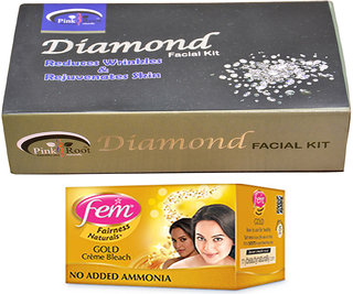 Fem Gold Bleach and Pink Root Diamond Facial Kit 83gm Pack of 2