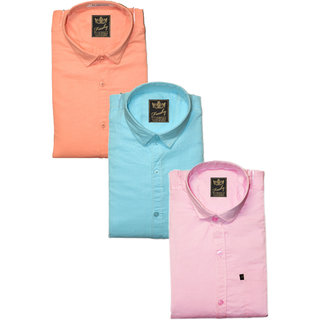 Freaky Plain Peach, Pink & Sky Blue Casual Poly-Cotton Shirts (Pack Of 3)