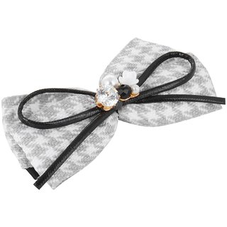Fayon Designer Modern Grey Bow With Pearl Hair Clip