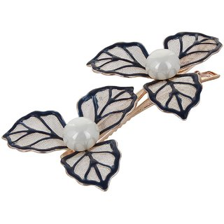 Fayon Fabulous Fashion Black Leafs With Pearl Hair Clip