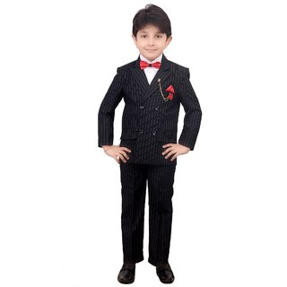 Boys Coat Suit with Shirt Pant and Bow - Party Wear