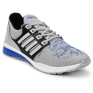 Fuel Mens Grey Blue Laced Up Sports Walking Shoes