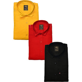 Freaky Pack Of 3 Plain Casual Slimfit Poly-Cotton ShirtsYellowRedblack