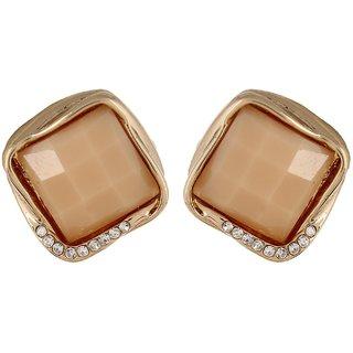 Fayon Funky Fashion Pink Square Rhinestone Stud Earring