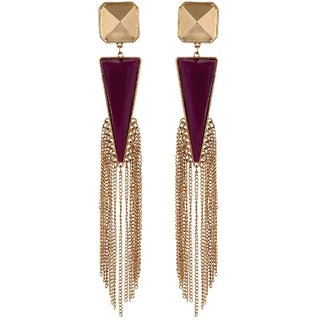 Fayon Fabulous Statement Dark Purple with Multi Tassel Jhumki Earring