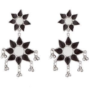 JewelMaze Black Meenakari Rhodium Plated Aghani Earrings