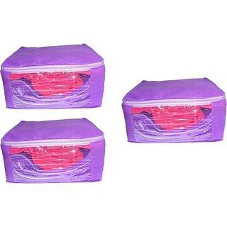 DIMONSIV Plain 10 Inch Ladies Large Non - Woven 3saree Cover. Upto 10 - 15 Saree Cover each  (Purple)