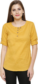 Anam Export Casual 3/4th Sleeve Solid Women's Yellow Top