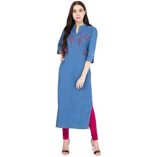 Pinky Pari Denim Embroidered Blue Straight Kurti