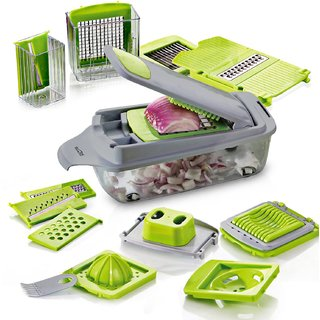 HomePuff 11 in 1 Multi-functional Adjustable Vegetable  Fruit Chopper Dicer with Storage Container