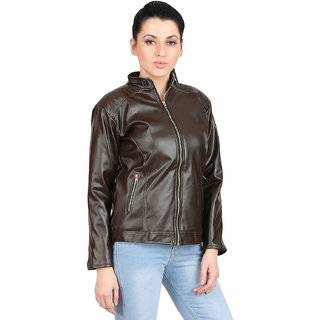 women's Solid leather jacket