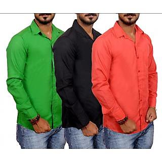 Plain Casual Poly-Cotton Shirts pack of 3