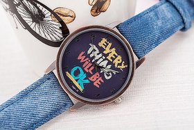 Zillion Message Print Black Dial Blue Denim Strap Analog Watch For Women, Girls