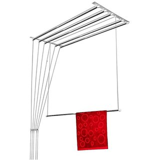 Wel-Tech Stainless Steel Rust Proof Ceiling Cloth Hanger with Individual Drop Down Railers (7Ft*6Pipes)