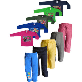 Jisha Fashion Full Sleeves Cotton Tshirt with Track Pants (6 Months to 6 Years) (Pack of 5)