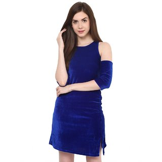 Aashish Fabrics - Blue Cold Shoulder Velvet Women Dress