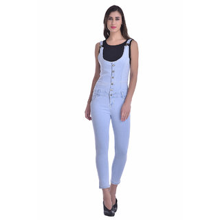 Manash Fashion Women Ice Blue Denim Dungaree