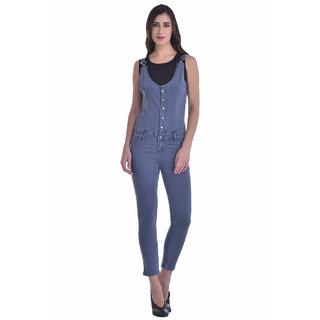 Manash Fashion Women Grey Denim Dungaree