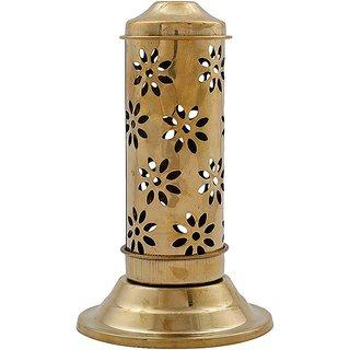 Craftsells  Dhoop Golden Elegant Tower Stand For Dhoop Brass Golden 18 Cm