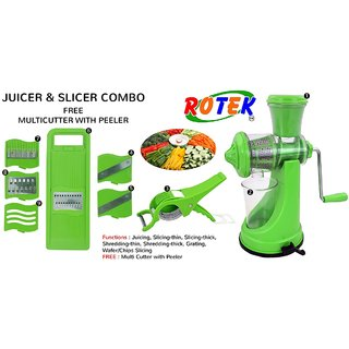 Rotek Master Kitchen Combo of Vaacum Base Fruit Vegetable Manual Juicer and 6 in 1 Slicer with Free Multicutter Peeler
