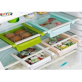 Rudra Multi Purpose Storage Fridge Rack - Space Saver Organizer for Refrigerators (Color may Vary-1 Piece)