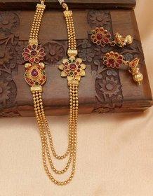 Designer gold plated multi layer necklace set