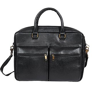 O.K. INTERNATIONAL 15.6 Laptop 100 Genuine Leather 10.2 Liters Black Leather Laptop Bag for Men and Women