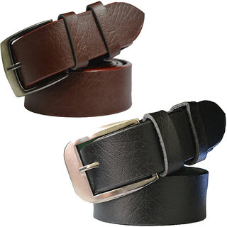 Sunshopping men's black and brown needle pin point buckle belt combo (pack of two)