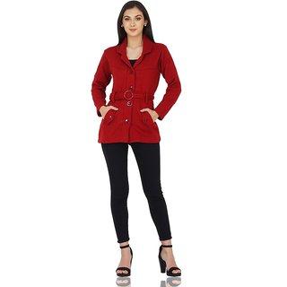 Woolen Red cardigan Blazer with Belt By NishTag Brand