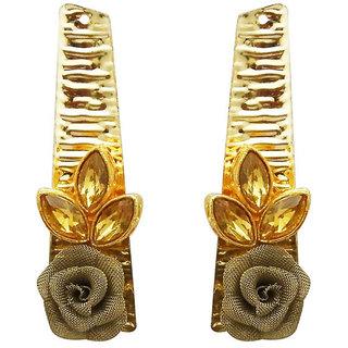 JewelMaze Gold Plated Brown Resin Stone Floral Dangler Earrings