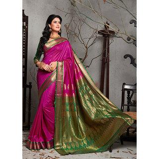 Buy Craftsvilla Saree Womens Pink Bangalore Silk Jacquard Party
