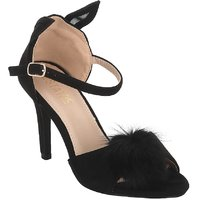 Estatos Suede Black Peep Toe Buckle Closure Ankle Strap