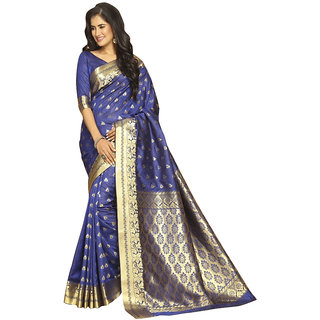 f1a93384c9417e Craftsvilla sarees Blue Bangalore Silk Zari work latest designer saree for  party festival wear with unstitched Blouse piece (Flora)