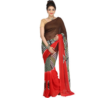 DesignerHaat Women's Printed Synthetic Saree With Blouse Piece ( DH12  Multi-Colour )