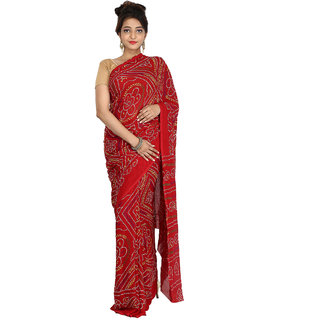 DesignerHaat Women's Synthetic Bandhej Saree With Blouse Piece ( DH19  Red )