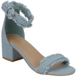 cc23598fae08 Buy Estatos Denim Blue Mesh Style Buckle Closure Ankle Strap Open Toe Block  Heel Online - Get 47% Off