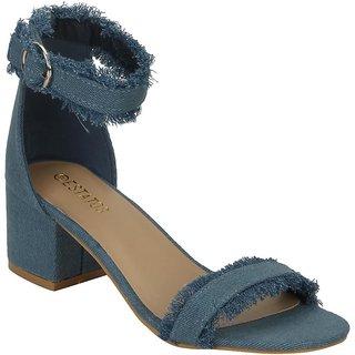 Estatos Denim Blue Mesh Style Buckle Closure Ankle Strap Open Toe Block Heel